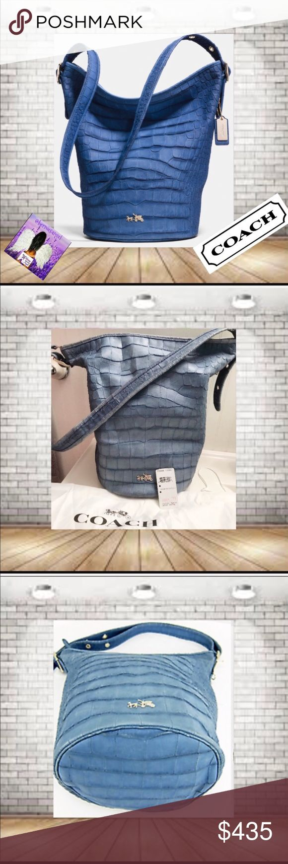 "Coach Croc Embossed Denim Duffle Shoulder Bag NWT Rare Bag December 2014 Pre-Spring Launch Of 2015 Collection. has minor Scratches from Being Displayed. 1st photo is stock.  Flat leather 1.25"" wide handle, adjustable with buckles from 14"" to 22"" drop 2 multi-function slip pockets. zip pocket  Slouch Bag. Hang Tags was not released with the 2014 bags!! Bag has Silver Hang Tag Only. Color photos with light differently.  14.5"" L (top) x 10"" L (bottom) x 13.5"" H  x 9"" D. This bag will ""Weather…"