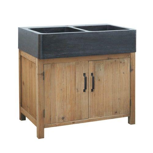 Küchenunterschrank aus Recyclingholz mit Spüle, B 90cm