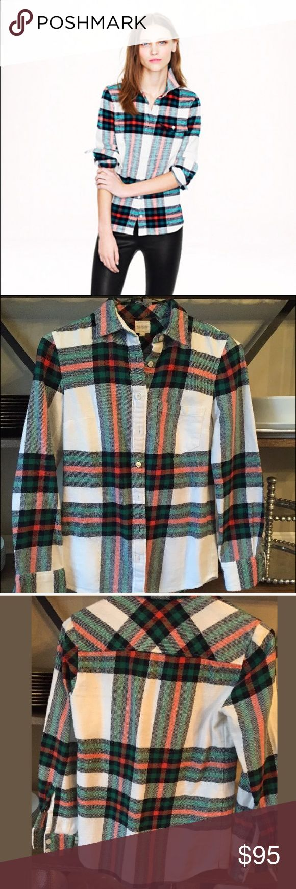 J. Crew Rock Salt plaid flannel shirt top RARE!! Highly sought after!!   J. Crew Factory Rock Salt Plaid button up shirt.  Worn and washed a few times, still in good condition! Does have some minor pilling which can easily be removed.   Super stylish and on trend!!   Size: PXXS  Authenticity guaranteed.  Offers welcome, NO trades J. Crew Tops Button Down Shirts