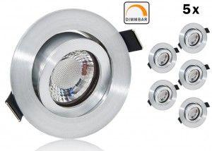5er LED Einbaustrahler Set extra flach mit Marken Flat LED Spot LcLight 5 Watt Keramik Alu Feinschliff Rund Dimmbar 40 Watt Ersatz