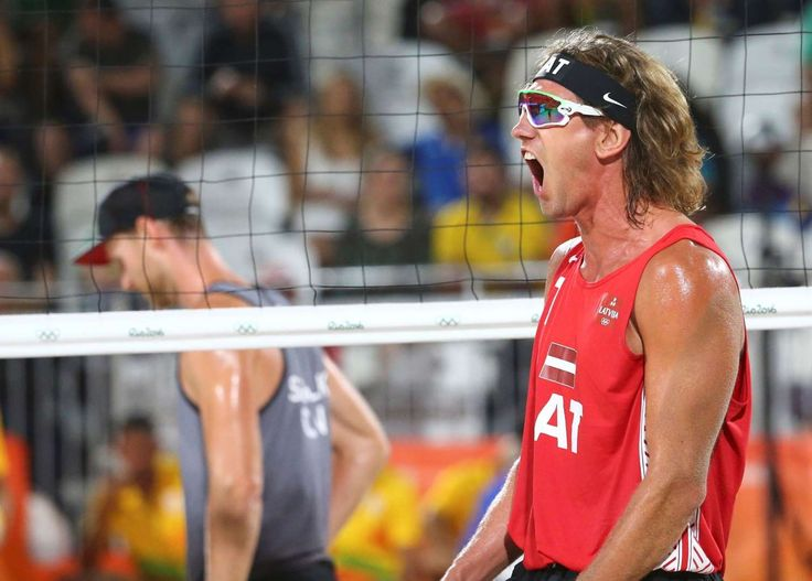 Aleksandrs Samoilovs of Latvia rejoices after winning a point during the men's Pool D beach volleyball match against Canada. Latvia won the game.  -  Rio Olympics: Highs and lows from Day Three  -  August 8, 2016