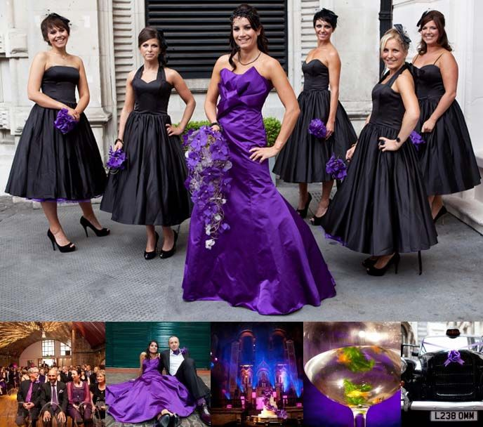 Gothic Steampunk Weddings Black Bridal Gown Decor Wedding Ideas Dresses Purpl