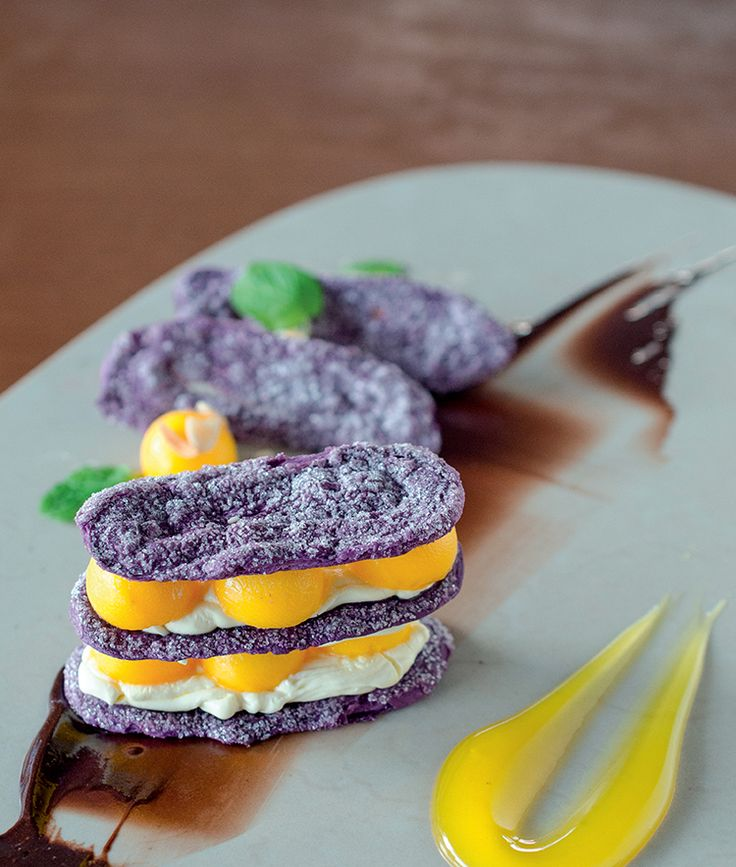 Three Filipino ingredients married into one! This Mango, Ube and Tablea Chocolate Tiramisu by Chef Sau Del Rosario is a dessert you can prepare in less than 30 minutes! - http://www.breakfastmag.com/03/03/2014/mango-ube-and-tablea-chocolate-tiramisu/