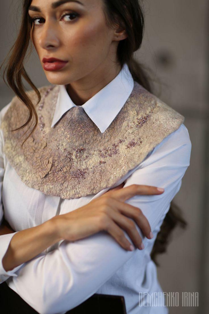 Купить Валяный воротничок «Пудровый» - ретро, воротник, кремовый, невеста, украшение на шею, женственность, ночь