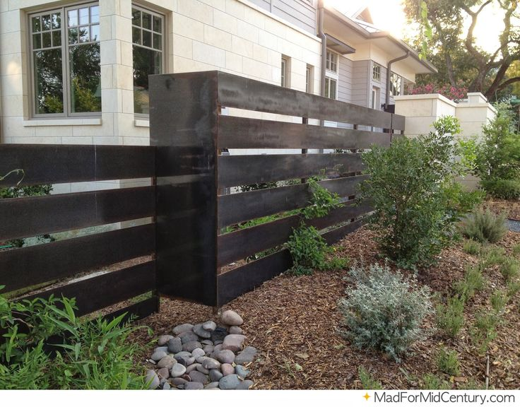 Mid Century Modern Courtyard Fences Modern Metal Fence