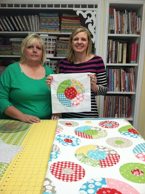 Kimberly and Lori making a block from the Lots of Dots Quilt Pattern. Made with Lori Holt's Circle Ruler Set!