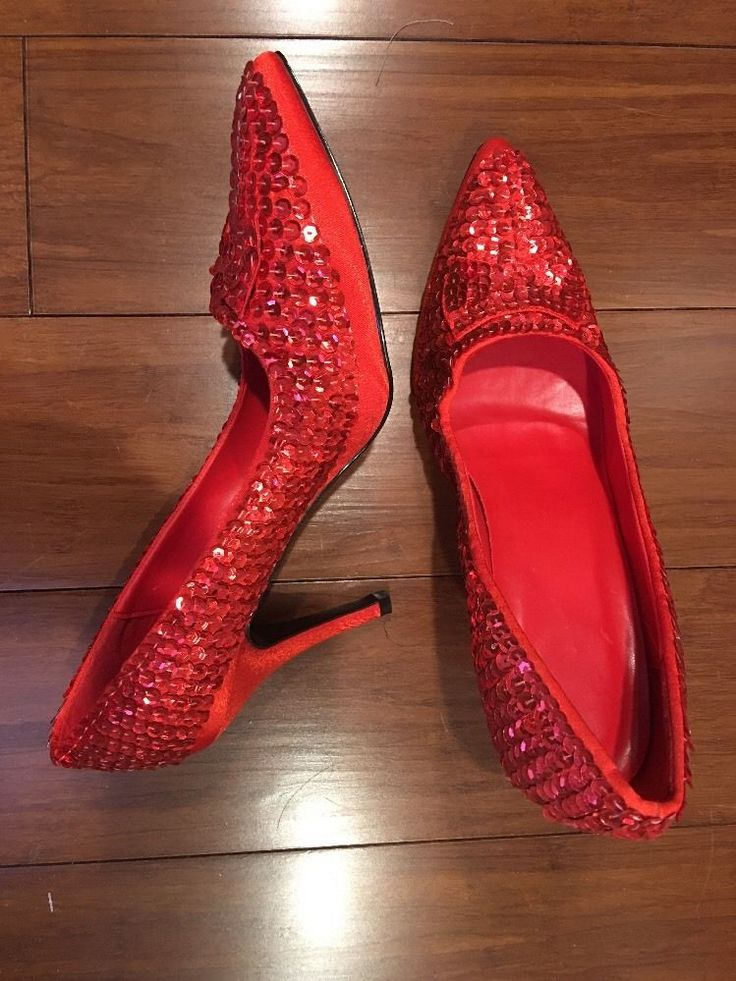 red sequin shoes Large 9-10  | eBay