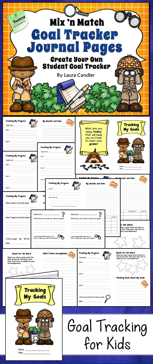Awesome student journal for tracking goals and data! Includes 20 different page and cover options appropriate for elementary students. $