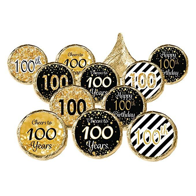 Distinctivs 100th Birthday Party Favor Stickers Gold And Black 324 Stickers 100th Birthday Party 100th Birthday Birthday Party Favors