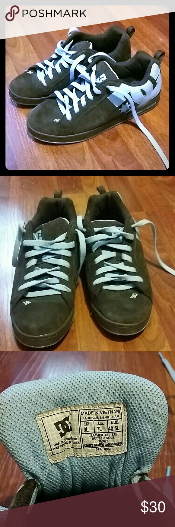 DC Skate shoes New DC Skate shoes. Never worn. Brown and light blue color. Womens size 9 DC Shoes Sneakers