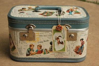 Upcycled ~ Recycled Train Luggage Case in Pastel Blue ~ Retro 1950's Style with Children
