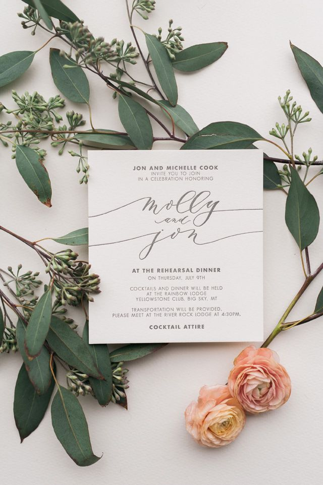 Beautiful Calligraphy Wedding Invitation Card Designed For Weddings In  Montana Big Sky And Glacier National Park