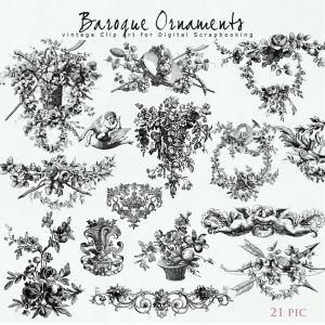 Scrap Kit from NeareStore - Baroque Ornaments.  The Pack contains 21 Illustrations in Vintage Style (contours). This vintage contour elements will help create Your unique style. You are free to choose for their colors, backgrounds, textures, and add to Your kits or creative works. Illustration created at 300 dpi (png file).