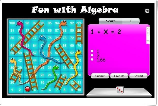 """""""Serpientes y escaleras"""" (Juego de Álgebra de Primaria)"""
