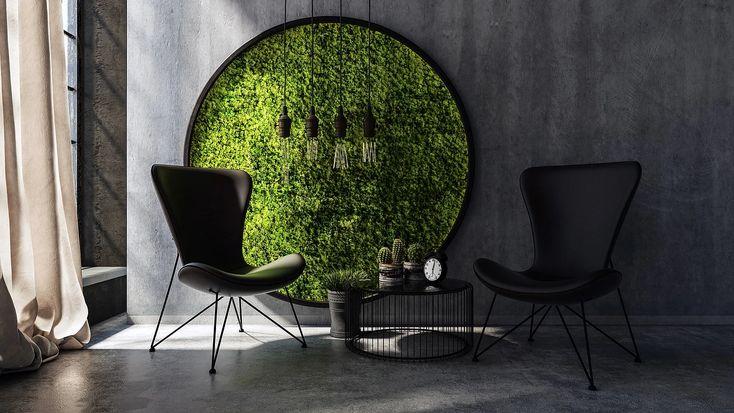 Moss wall art and biophilic design