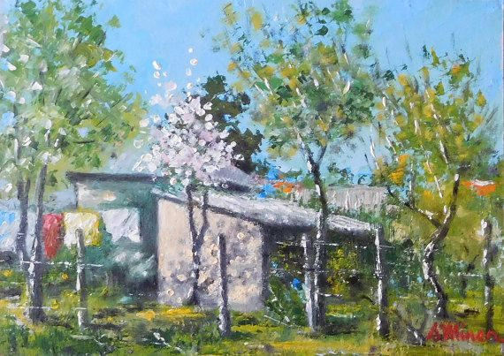 """In the garden at Naieni - original oil painting 9.4"""" x 13.4"""" ( 24 x 34 cm)"""