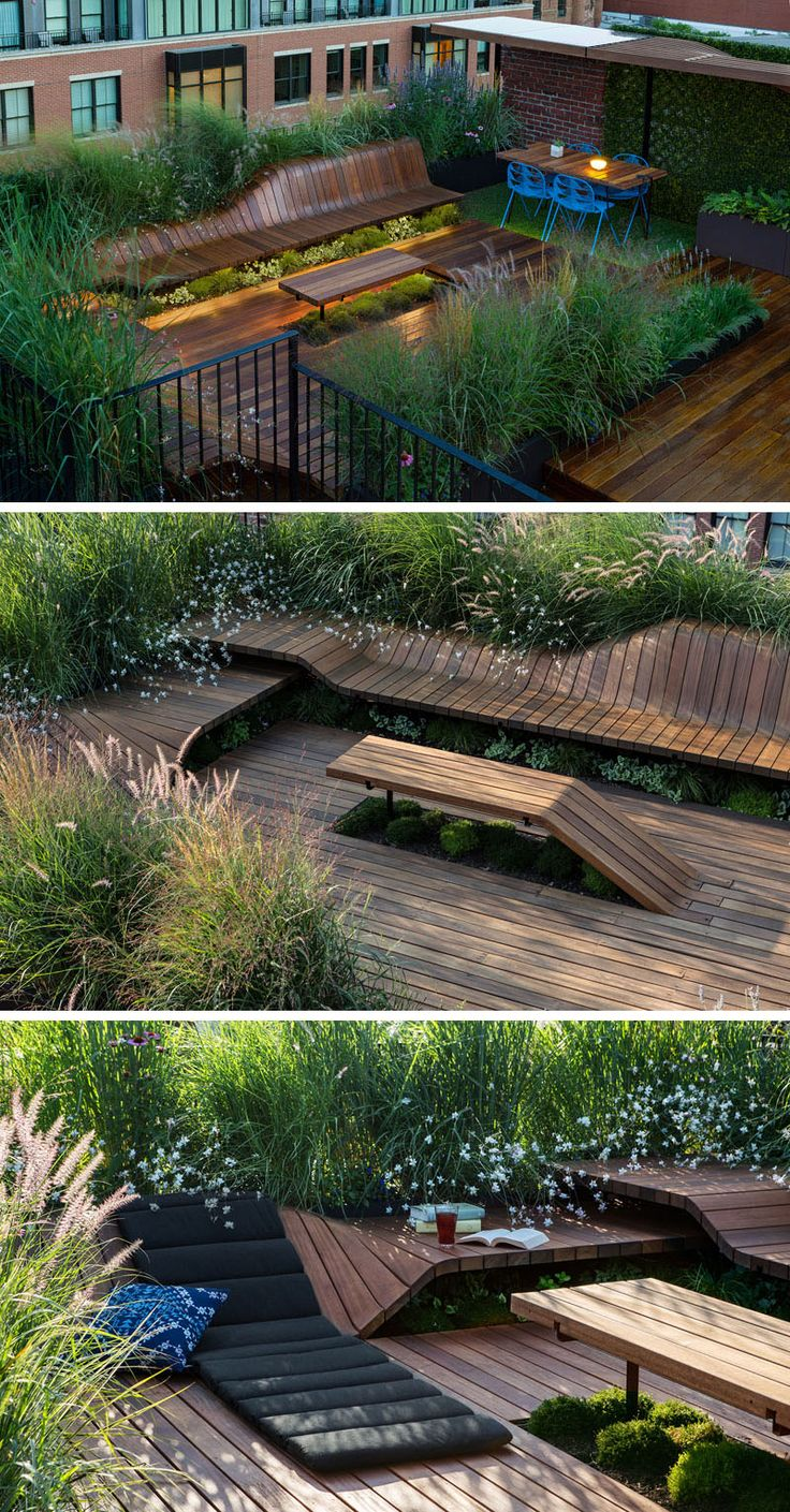 This modern sculpted, modular roof deck is 600 square feet in size and surrounded by greenery.