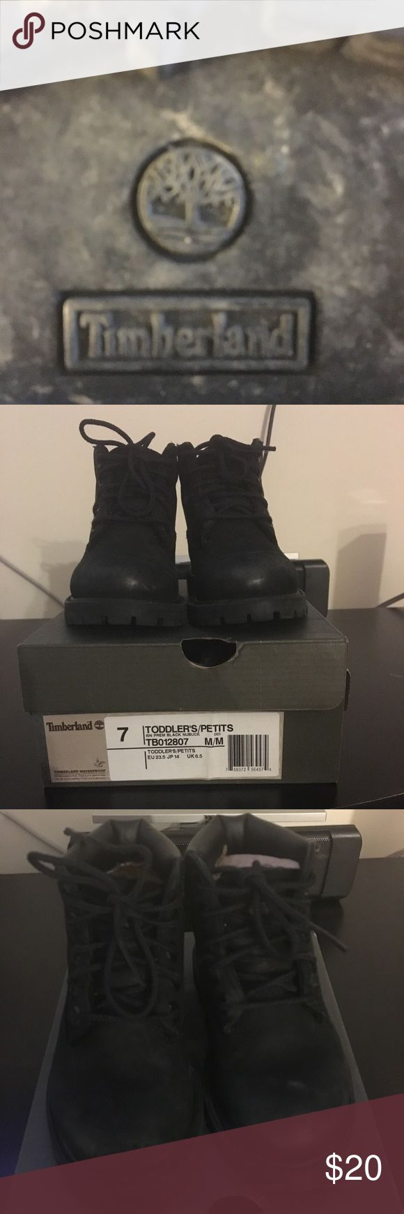 Toddler Timberland boots These are some great boots for the little one. They are a little worn but they still have a lot of miles in them. No rips or tears. Toddler size 7. Black. Comes with box. Timberland Shoes Boots