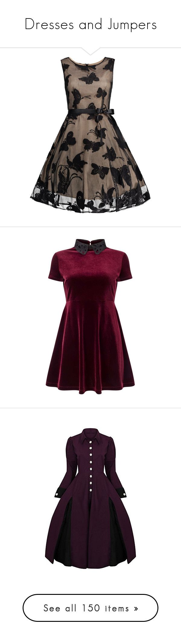 """""""Dresses and Jumpers"""" by rarimena ❤ liked on Polyvore featuring dresses, plus size prom dresses, plus size a line dresses, a line dress, jacquard a line dress, brown dresses, vestidos, short dresses, burgundy and petite"""