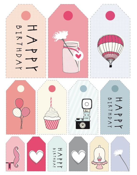 Impressió etiquetes per aniversaris - FREE printable Happy Birthday Cards, Tags and Stickers