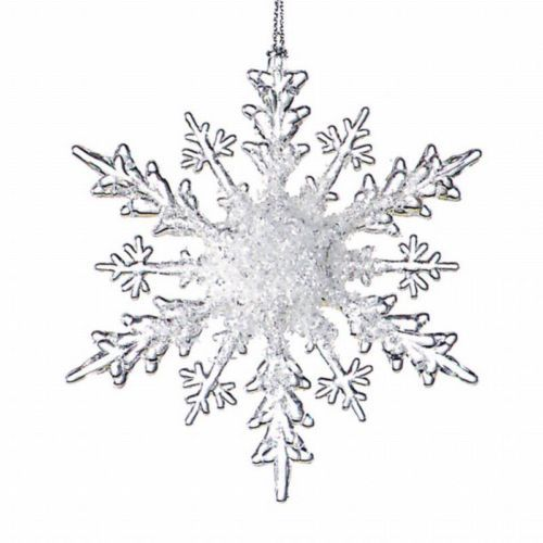 Set 24 Acrylic Clear Frost Snowflake Christmas Ornament