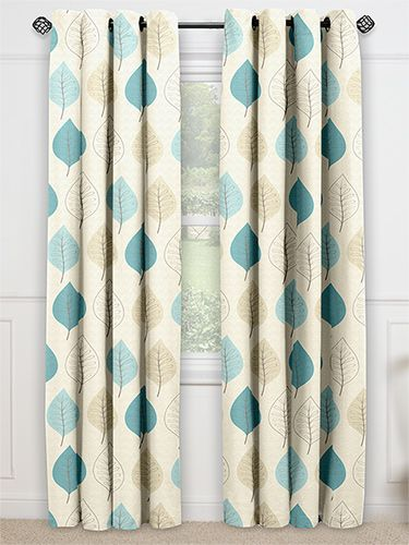 Cherry Leaf Winter Blue Ready Made Curtains from Curtains 2go Second bedroom