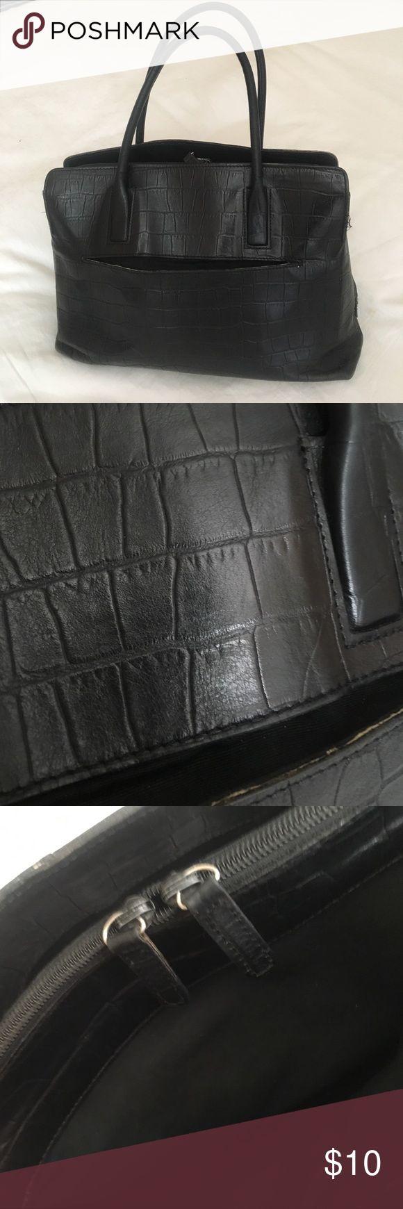"""Black leather handbag Length 12"""".  H 8.5 """" Marks & Spencer Bags Shoulder Bags"""