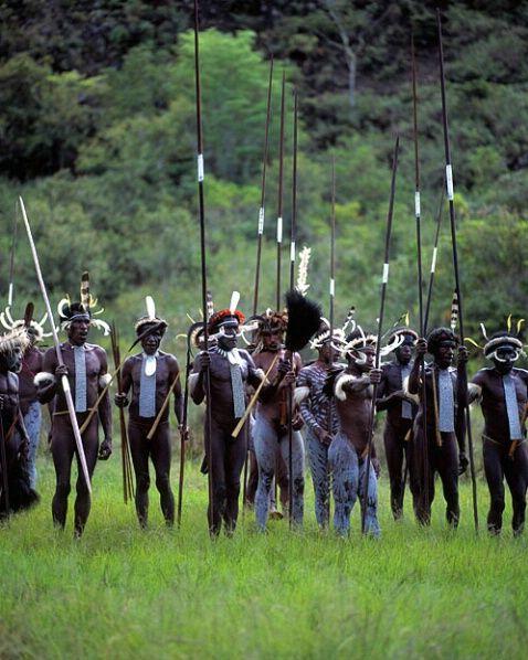 Dani tribal warriors, Irian Jaya, Indonesia