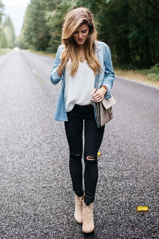 spring outfit, fall outfit, fall layers, boho outfit, boho chic outfit, street style, comfy outfit, casual outfit, back to school outfit - chambray shirt, white cami top, black distressed skinny jeans, brown suede booties, brown suede shoulder bag