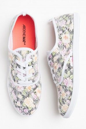 Floral lace sneakers