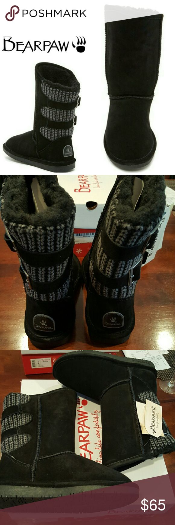 Bear Paw Boshie Suede  Genuine Sheepskin Boot Bear Paw Boshie Suede and Genuine Sheepskin in black. No trade, discount with bundle! Considering all reasonable offers made via the blue offer button only! Bear Paw Shoes
