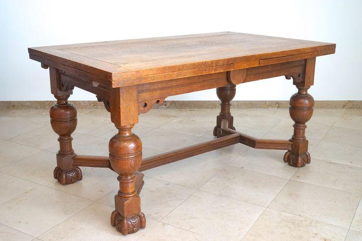 Vlaamse eikenhouten tafel in renaissance stijl, met uittrekbladen, 19e eeuw
