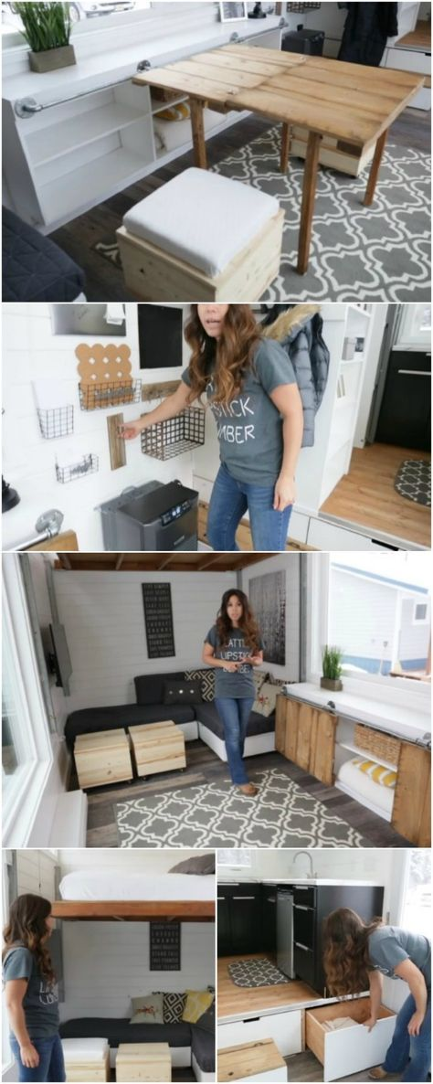 Self-Taught Builder Graduates to Incredible Tiny House with Elevator Bed - Ana White learned how to build while she and her husband were building their own home. Since then, she's developed a passion for it and has become an expert at construction. Her latest project for clients was this incredible tiny house that's not only incredibly beautiful but it even has an elevator bed in it! That's not something we see every day.