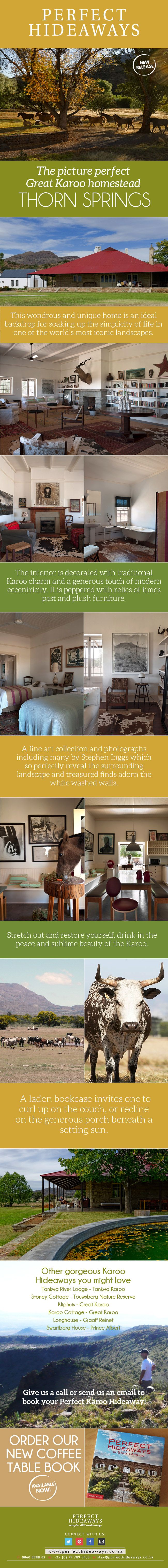 https://www.pinterest.com/perfecthide/weekly-mailers/ Beneath the branches of the sweeping willows, the expansive reach of the Karoo sky lies Thorn Springs farm, the picture perfect Great Karoo homestead.