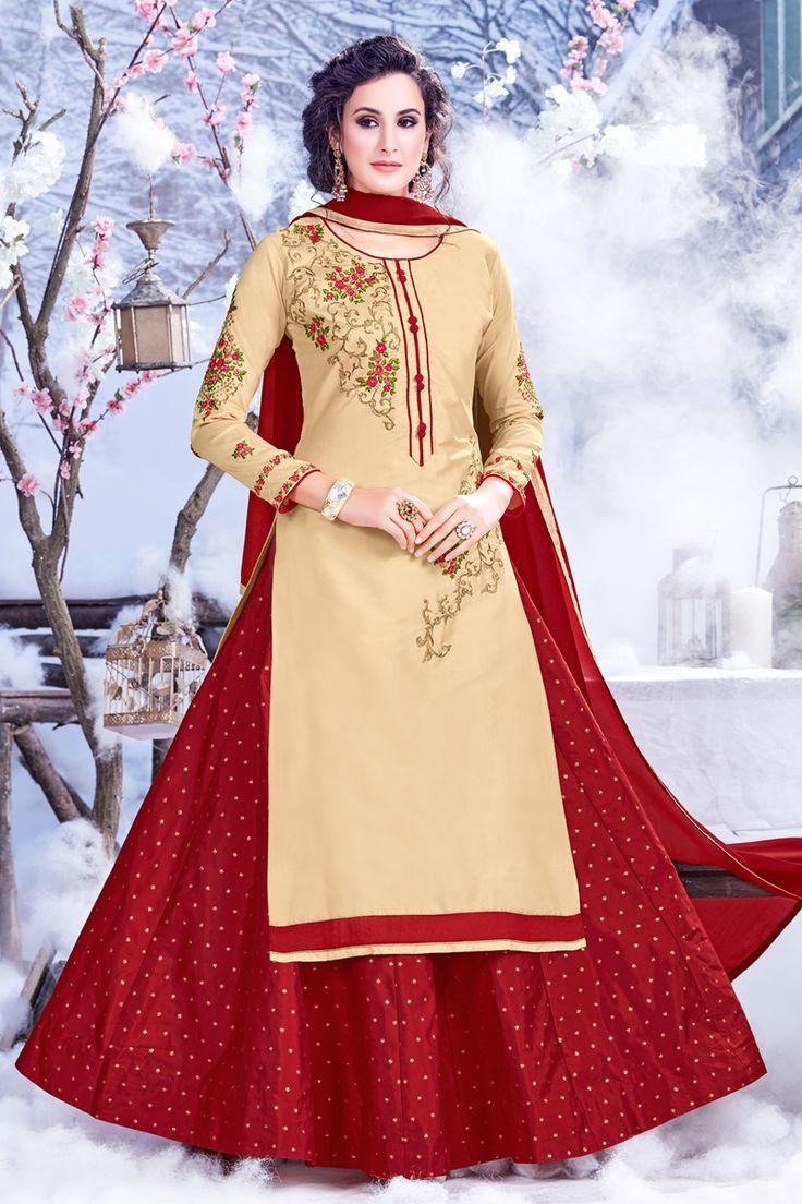 Beige-Designer-Festival-And-Wedding-Wear-Indo-Western-Style-Salwar-Kameez-With-Embroidary-Work-Sareen-Riddi-Siddhi-Fashion-Catalog-13305