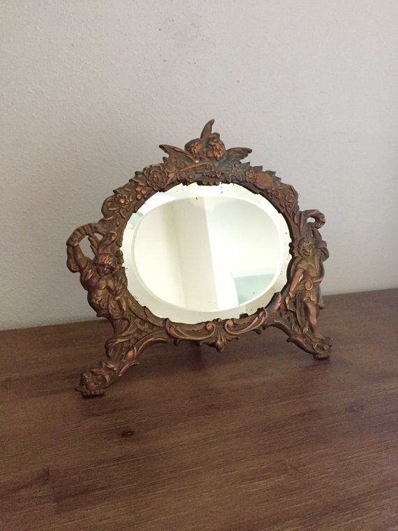 Antique Bronze Standing Vanity Mirror Victorian By