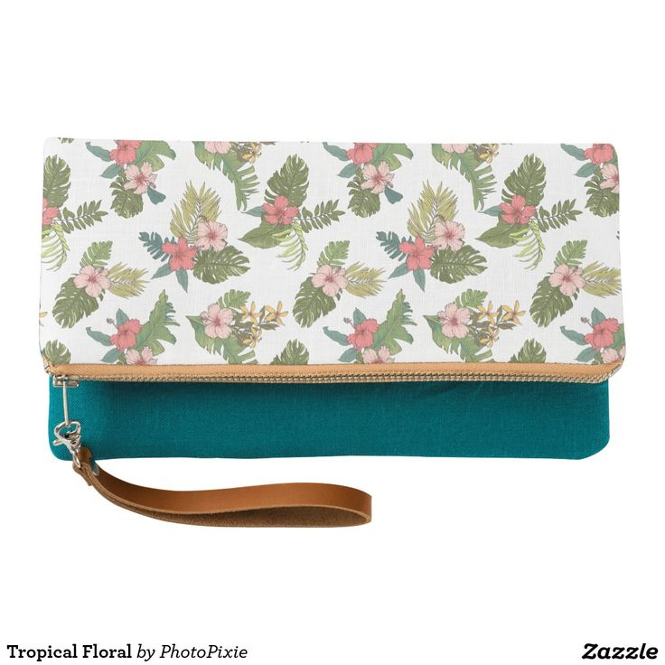 Tropical Floral Clutch Purse