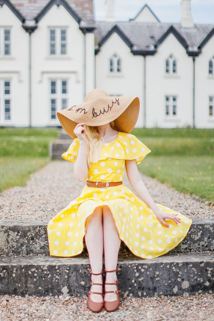 Outfit: She Wore An Itty-Bitty Yellow Polka Dot...