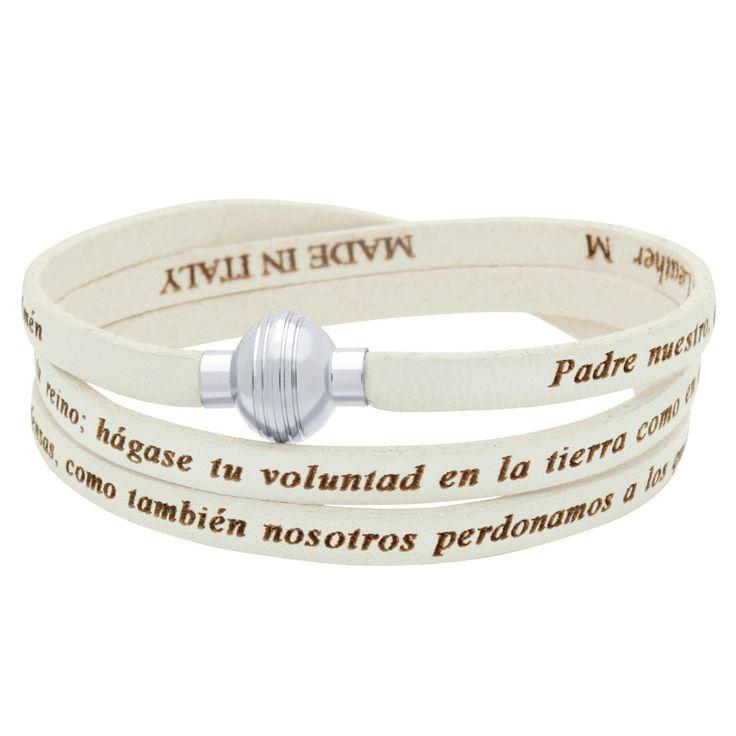 Genuine leather wrap bracelet. White lord's prayer wrap leather bracelet in Spanish. Brazalete del padre nuestro en espanol. by Jadorelli on Etsy