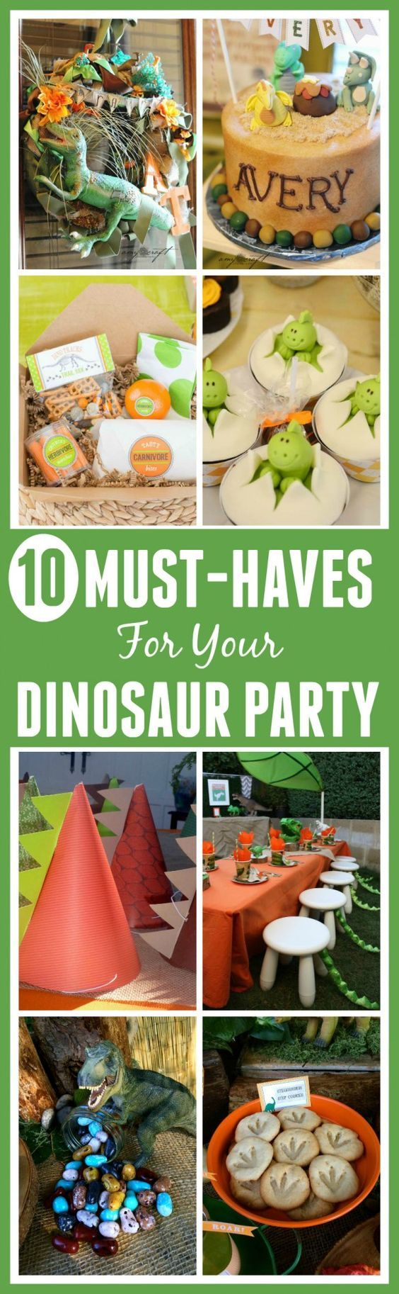 Here are 10 must-haves for throwing a dinosaur birthday party! We've got ideas for dinosaur cakes, cupcakes, party favors, decorations, party foods, and more! See more dinosaur party planning ideas at CatchMyParty.com.