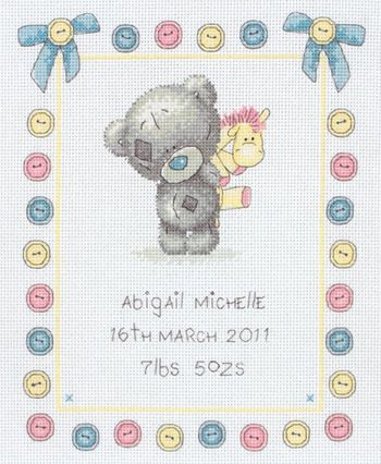 Button Birth Sampler (Tiny Tatty Teddy)
