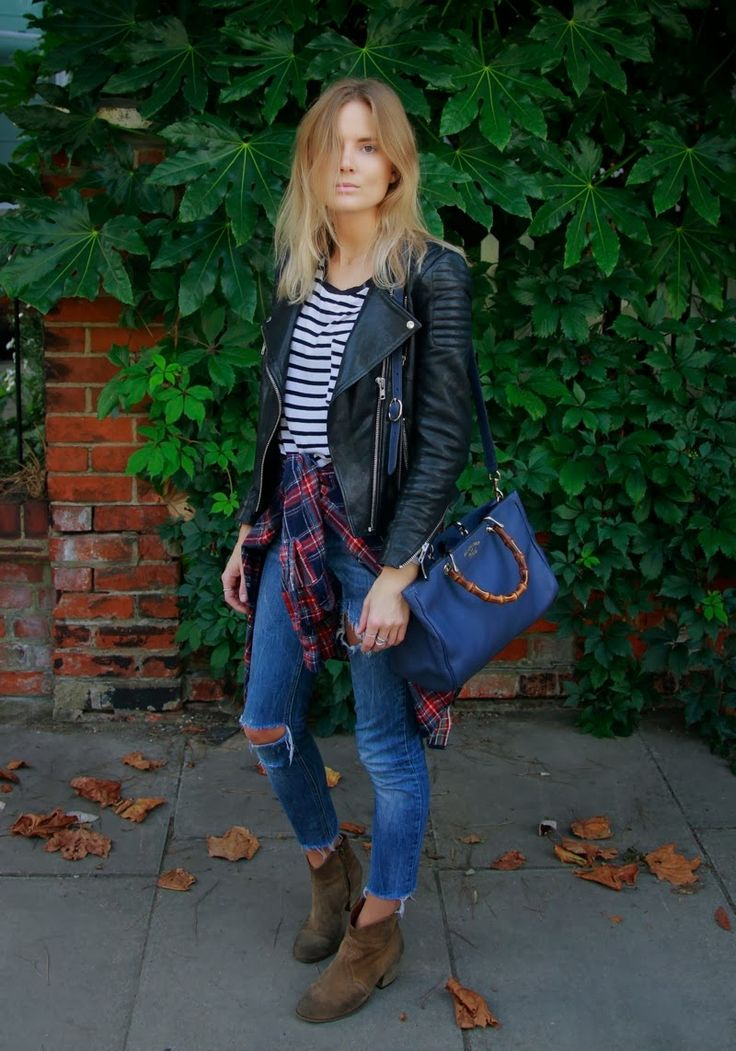 Love this! Tousled Hair, Breton stripes, suede boots, leather