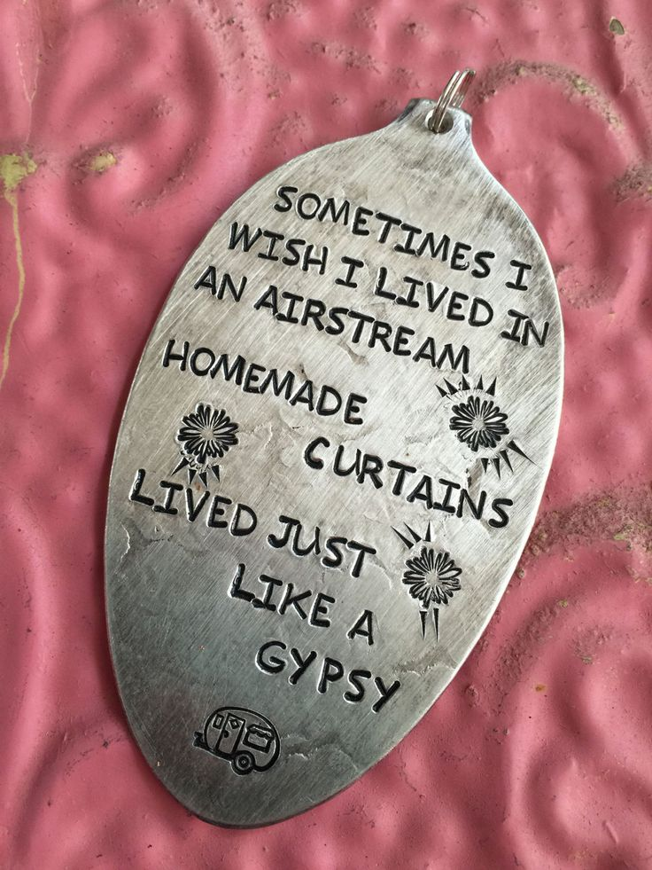 Stamped Vintage Upcycled Spoon Jewelry Pendant - Aged - Miranda Lambert Song Lyrics -  Sometimes I Wish I Lived In An Airstream Homemade by JuLieSJuNQueTiQue on Etsy