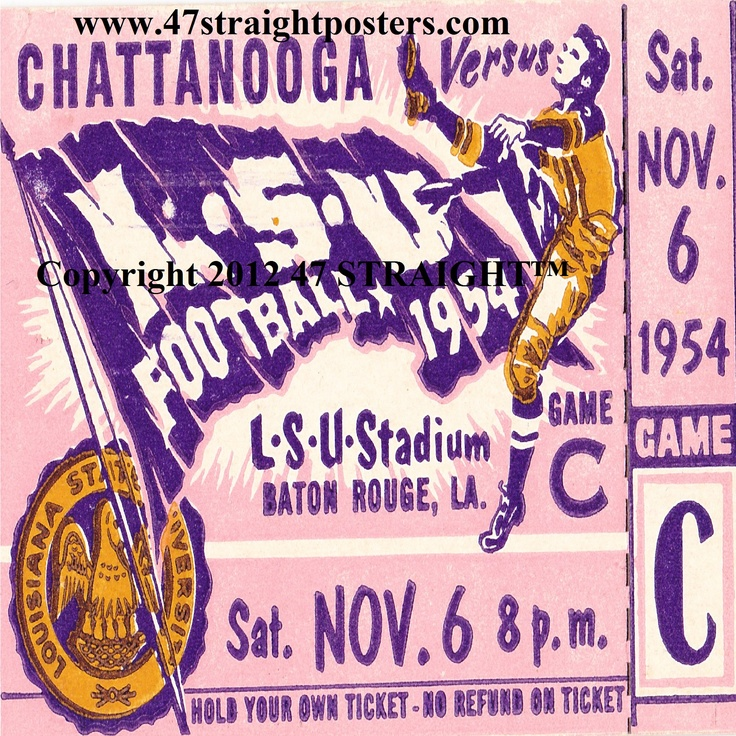 1954 LSU Football Ticket Coasters.™ Made from an authentic '54 LSU football ticket. Perfect stocking stuffer for football fans! http://www.shop.47straightposters.com/Christmas-Football-Gifts_c68.htm Christmas football gifts #47straight
