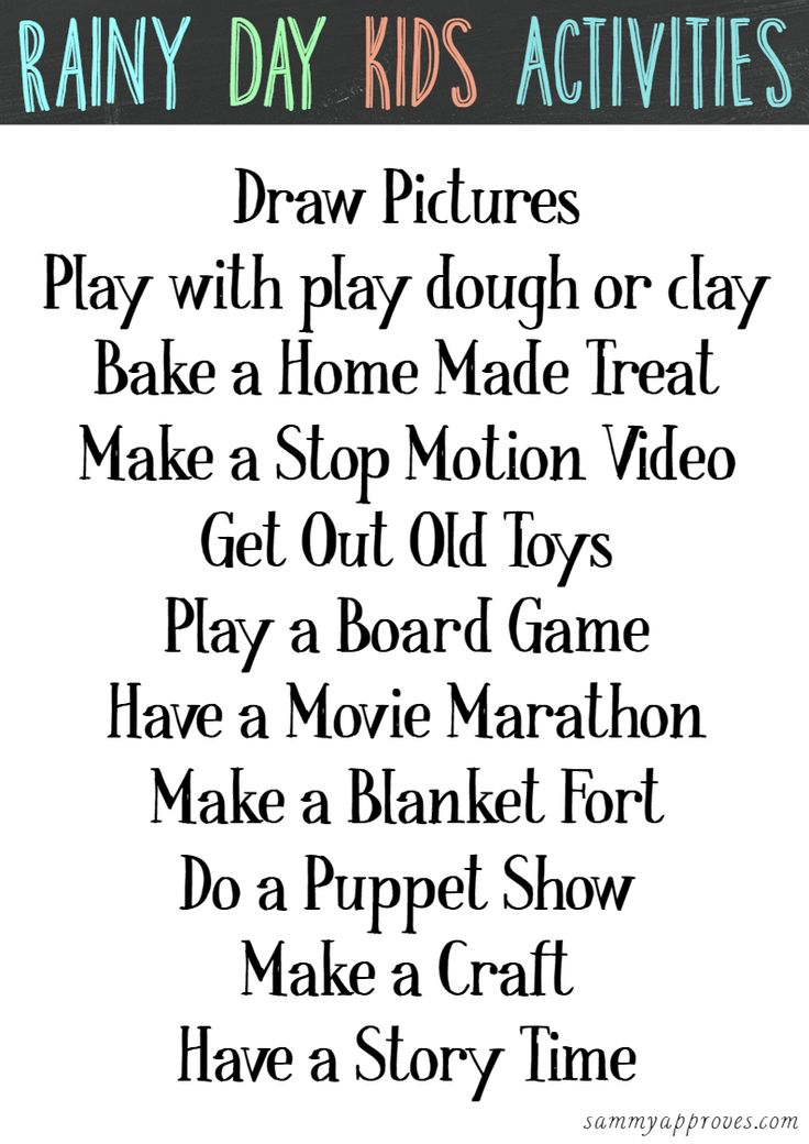 It can be hard to keep the kids entertained on bad weather days! Here is a free printable with some awesome rainy day kids activities to help you keep your children busy.