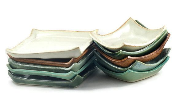 Handmade Ceramic Tableware Square Tapas Plate and Bowl Set Choice of Five Colours on Etsy, $30.10