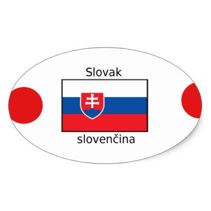 Slovak Language And Slovakia Flag Design Oval Sticker - craft supplies diy custom design supply special