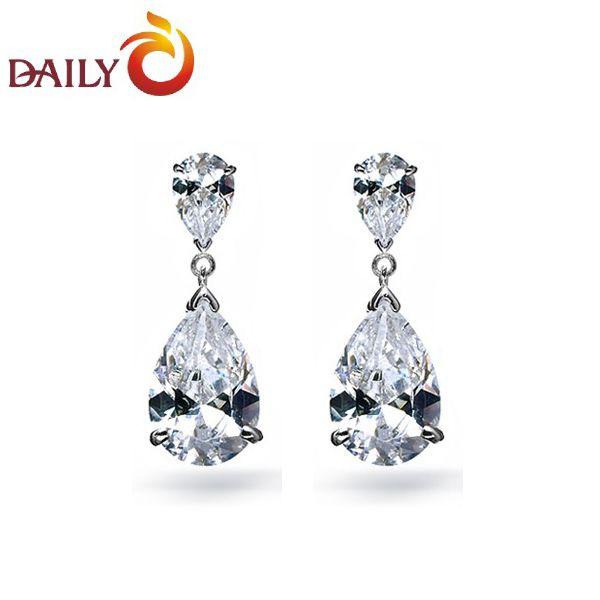 Oorbellen voor vrouwen zilver toon dubbele teardrop zwitserse cz diamanten oorbellen bruids sieraden dagelijks nieuwe mode dae 0011 in          *** wat is kubieke zirkoonVaak voor lijdt de name's van Drop Oorbellen op AliExpress.com | Alibaba Groep