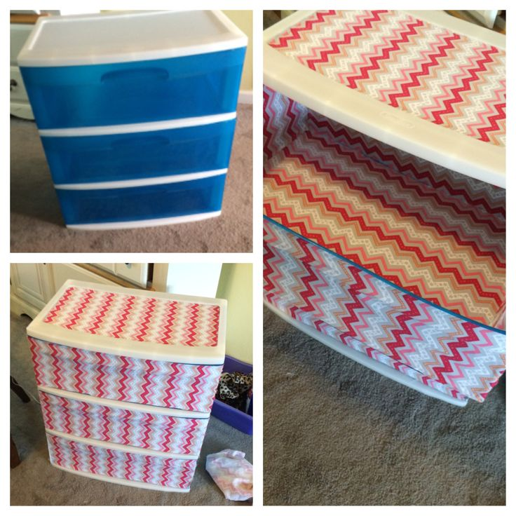 Before and after pictures of a cheap plastic dresser I bought from Walmart! The dresser was $10 and all of the fabric was $20 from Joann Fabrics! Did the inside of each drawer, and sprayed perfume in it to keep my clothes smelling good for weeks while they're inside! Excited to use this in my apartment :)