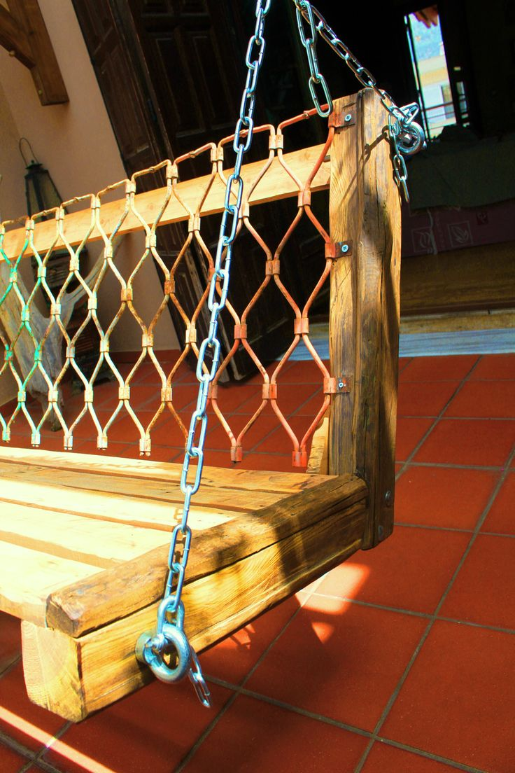handmade wooden - iron swing from recycled elements